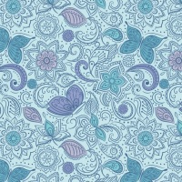 Sew Mindful - Floral Flow on Blue A261.3