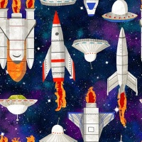 Blank Quilting - Lost in Space Rockets etc B9771