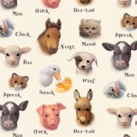 Elizabeth Studio - Animal Friends- Baby Farm Animals on Cream