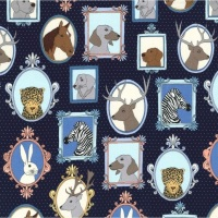 Michael Miller - Little Animal Portraits CX7638 Navy