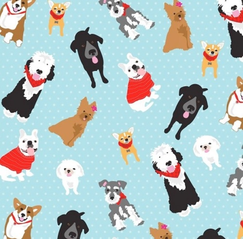 Studio E -Must Love Dogs - Dogs on Dots on Aqua