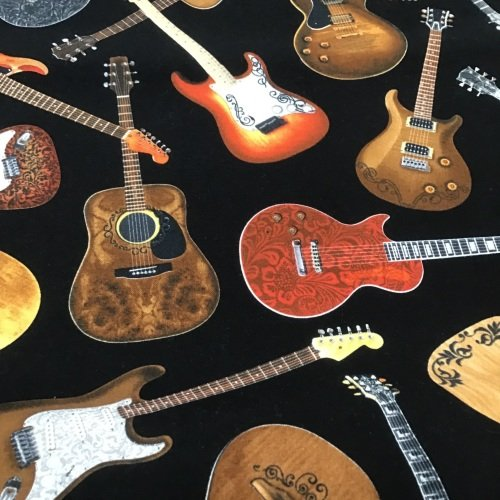Timeless Treasures- Guitars on Black c1611