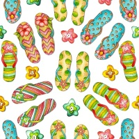 Blank Quilting - Flip Flops on White - Sale by the 1/2 meter