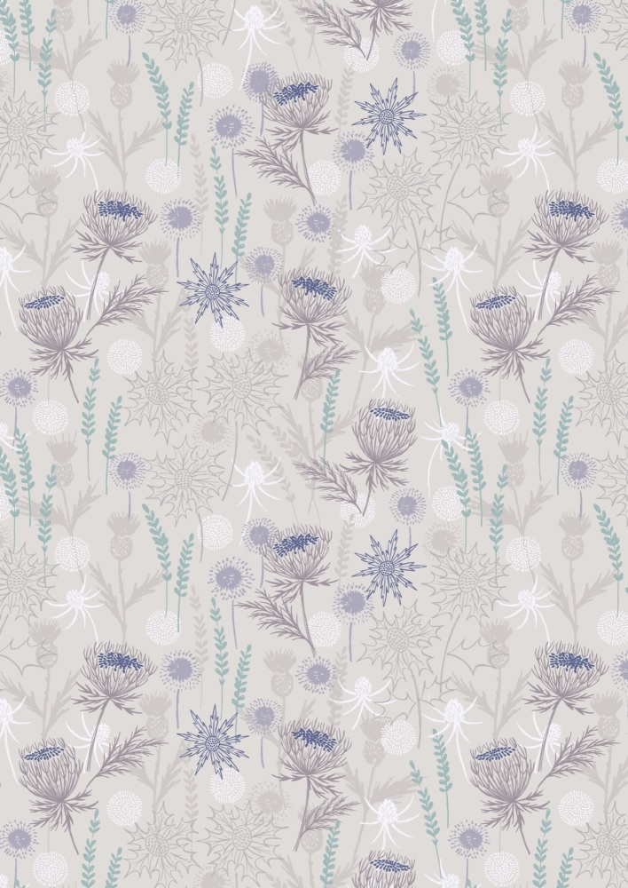 Light Grey Thistle with Silver Metallic A482
