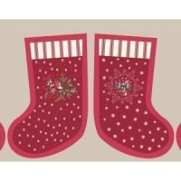 Lewis and Irene- Countryside Winter Large Stocking Red on Beige