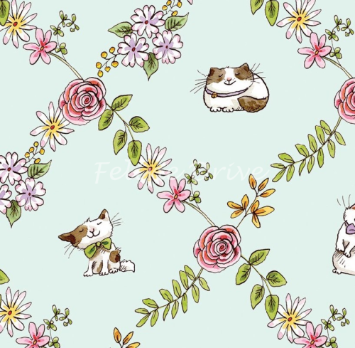 Clothworks- Cats in the Garden on Light Turquiose Y1833 x Sale by the 1/2 m