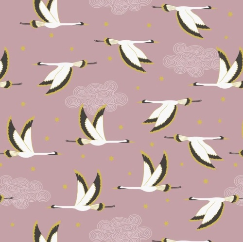 Flying Heron on Rose Pink with Gold Metallic - A488.2