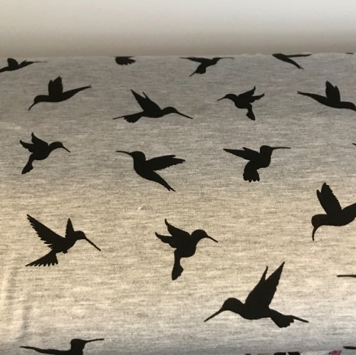 Cotton Jersey - Hummingbirds on Grey - by the half meter only