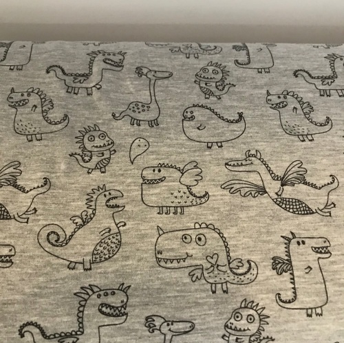 Cotton Jersey - Cute Dragons on grey by the half meter only