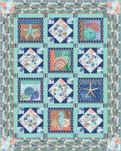 Coastal Dream Fabric Kit Includes panel and fabric inc binding to make quil