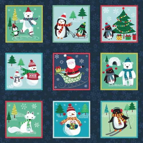Makower Frosty Labels 1619 panel - 15 inches by 44 inches