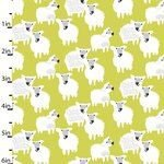 Studio E - Farm Friends Sheep on Acid Yellow - SALE BY HALF METER SHOULD BE £14 now £8.00