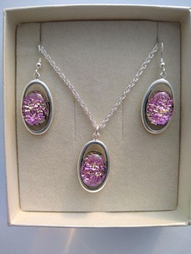 Pink Oval pendant and ear-rings