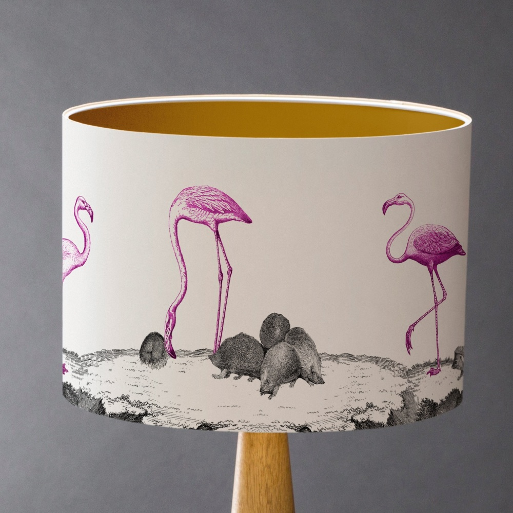 Curious Croquet - Flamingos and Hedgehogs Lampshade
