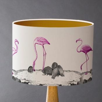 Curious Croquet - Flamingos and Hedgehogs Lampshade