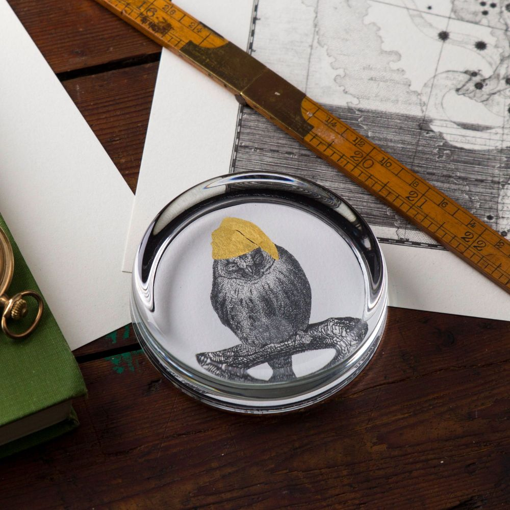 Sleepy Owl Hand Gilded Paperweight