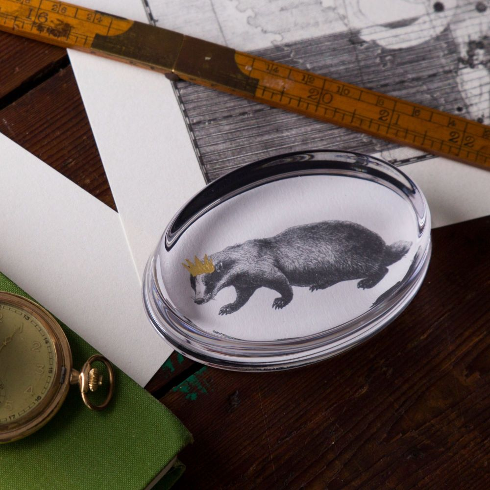 Badger Hand Gilded Paperweight Lifestyle