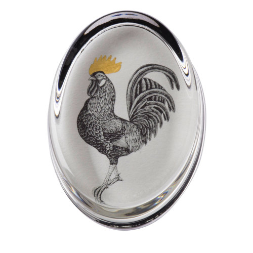 Cockerel Hand Gilded Paperweight Cut Out