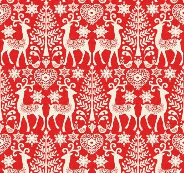Makower - Scandi III - Reindeer - Red