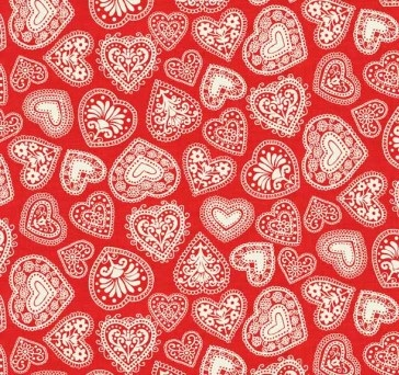 Makower - Scandi III - Hearts - Red