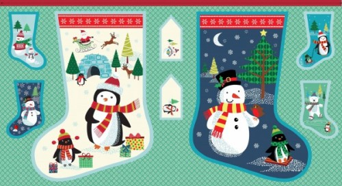 Makower - Frosty - Large Stocking Panel - Blue