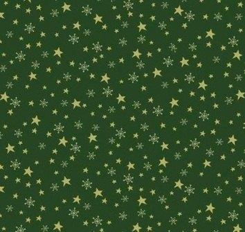 Makower - Metallic - Star & Flake - Dark Green