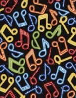 Timeless Treasures - Neon Music Notes - Multi