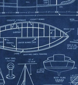 Timeless Treasures - Boat Blueprints - Navy