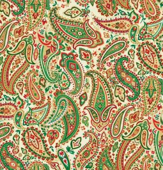 Makower - Traditional Christmas - Paisley - Cream