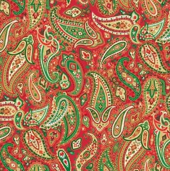 Makower - Traditional Christmas - Paisley - Red