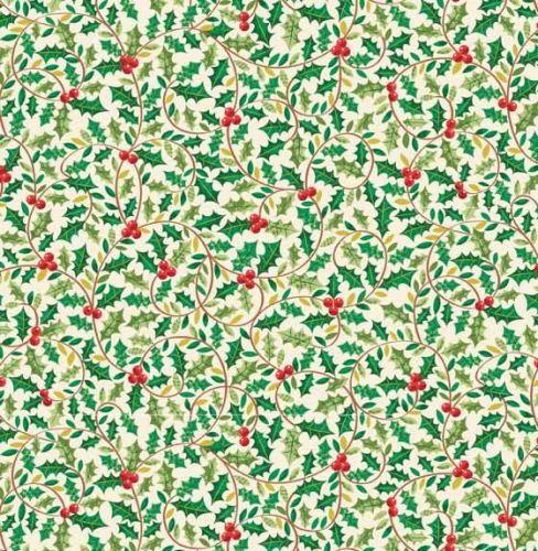 Makower - Traditional Christmas - Holly - Metallic