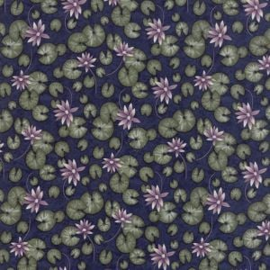 Moda - Summer on the pond - Dark blue background with lilac pond lillies -