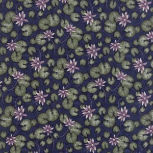 Moda - Summer on the pond - Dark blue background with lilac pond lillies