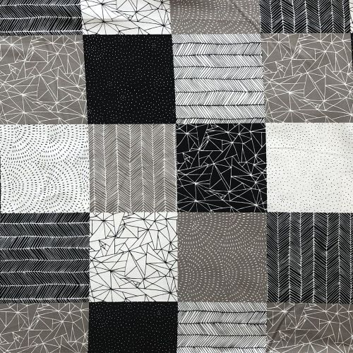Moda - Catnip - Black grey and white patterned squares