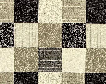 Moda - Catnip - Black grey and cream patterned squares