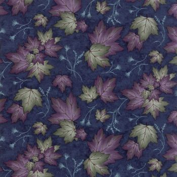 Moda - Summer on the pond - Dark blue background with purple and green sycamore leaves