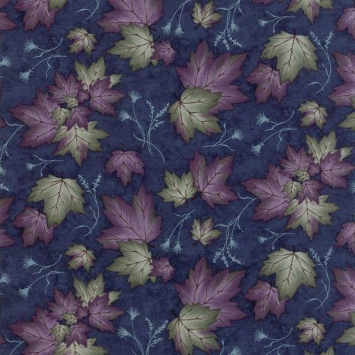Moda - Summer on the pond - Dark blue background with purple and green syca