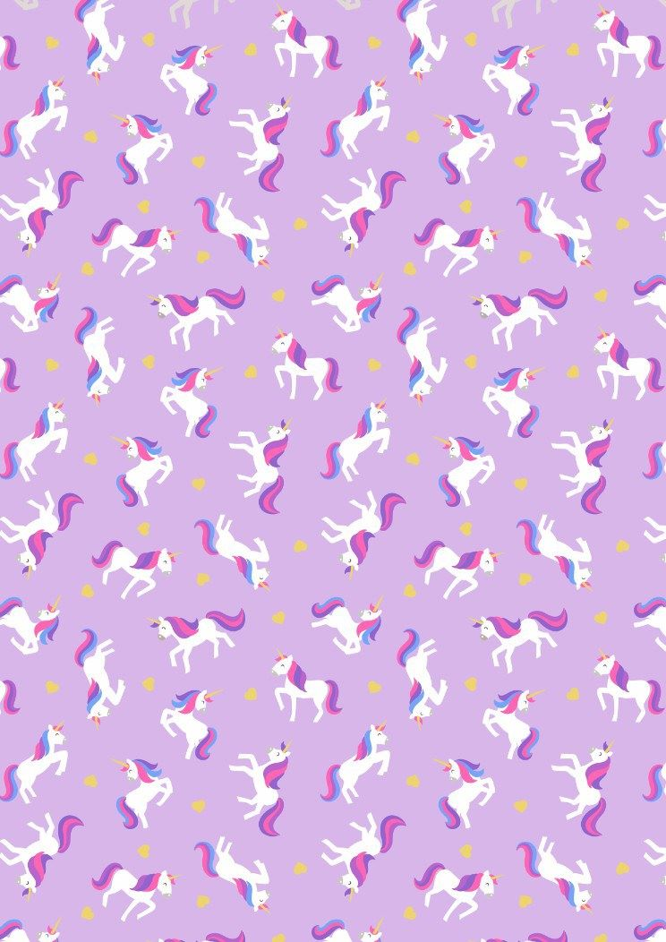 Lewis & Irene - Unicorns on lavender with gold metallic