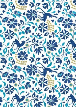 Lewis & Irene - Rhodian deer blue with gold metalic