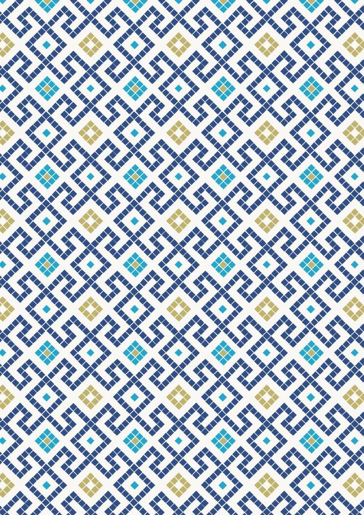 Lewis & Irene - Dark blue greek tiles with gold metalic
