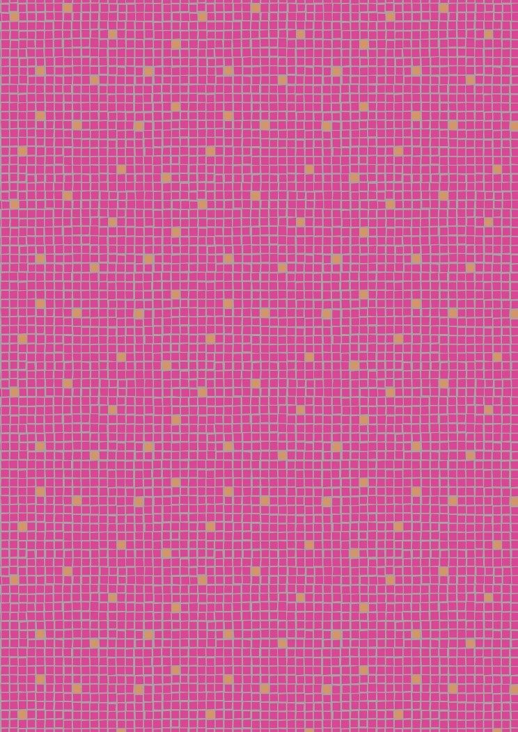 Lewis & Irene - Pink little tiles with gold metalic
