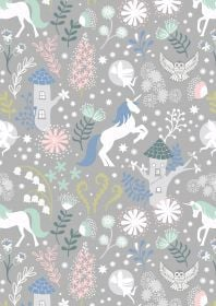 Lewis & Irene - Fairy Lights - Unicorns on grey