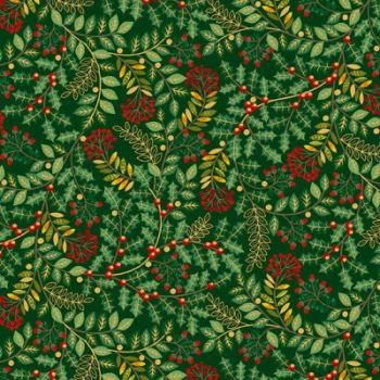 Makower - Deck the Halls - Leaf swirl on green metalic