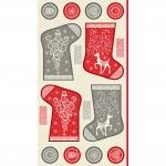 Makower - Scandi Christmas Stocking panel - Red/Cream