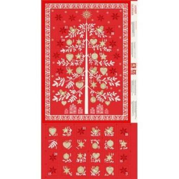 Makower - Scandi - Advent Tree Calendar panel - Red