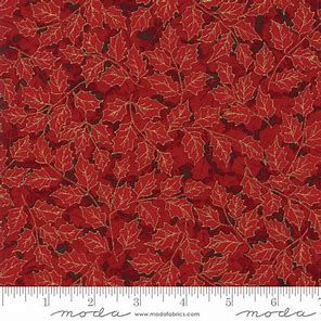 MODA - Guilded Greenery Metallic - Red Holly Leaves