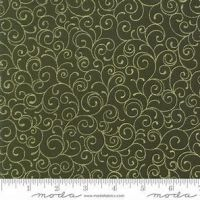 MODA - Cardinal Song - Gold swirl on Green - Christmas