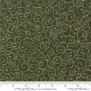 MODA - Cardinal Song - Gold swirl on Green