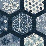 Makower - Indigo - Hexagons Blue