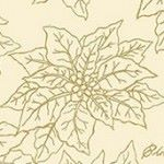 Makower - Deck the Halls - gold metallic poinsettia on cream